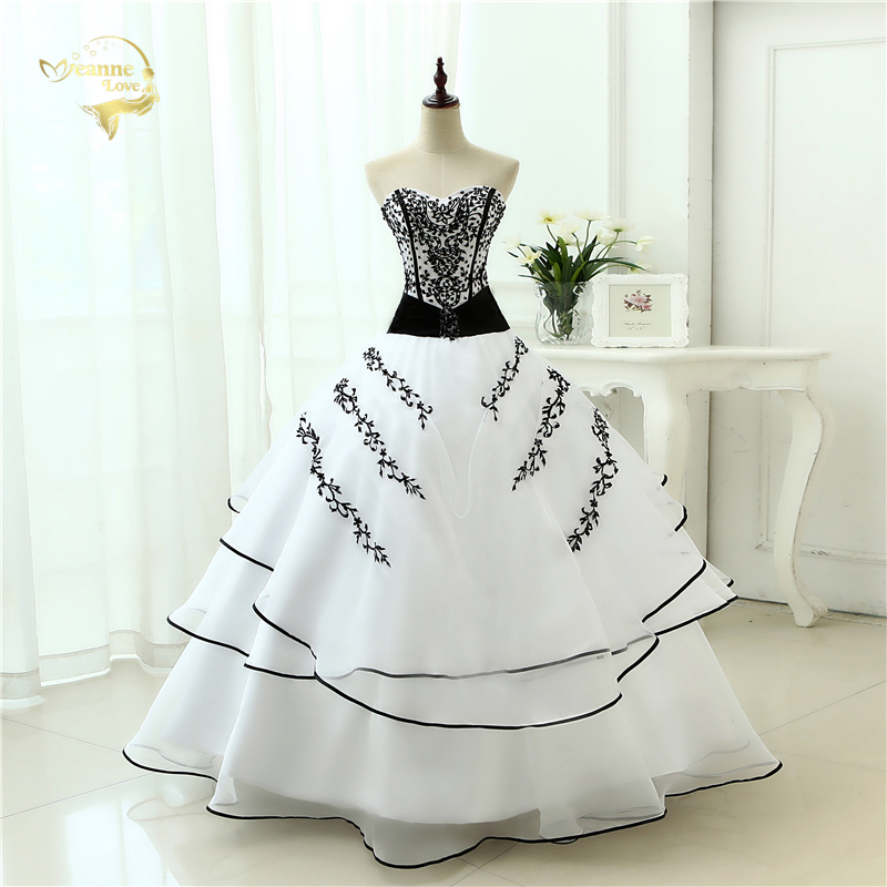 Vestidos De Noiva Hot Sale 2020 New Arrival  Wedding Dresses Classical A Line White Black Women's Vintage Ball Gown OW 0199