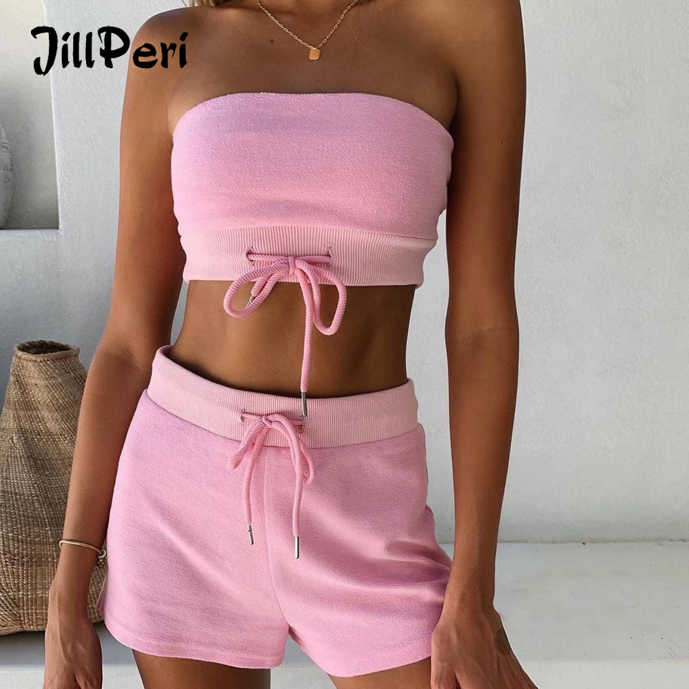 JillPeri Women Summer Strapless Crop Top And Shorts 2 Piece Set Pink Yellow Tie Hoodie Casual Outfit Solid Comfort Lounge Set