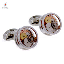 1 Pair Round Watch Movement Cufflinks Steampunk Gear Watch Mechanism Cuff Links Men's Jewellery Accessory Gift