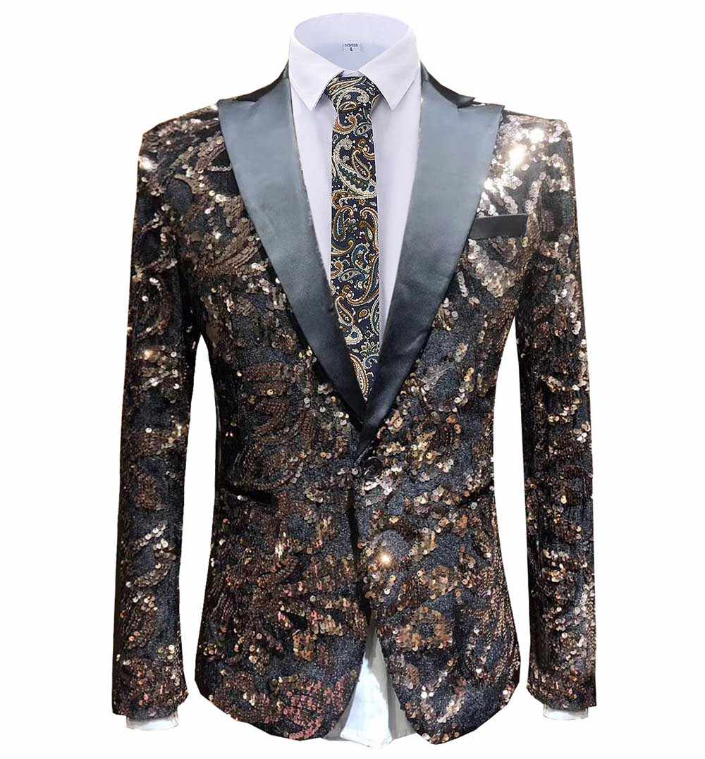 2019 Fashion Mens Color Sequin blazer Peak Notch Lapel Tuxedo Tailcoat best man suit jscket for Wedding Party Groom Host 1 piece
