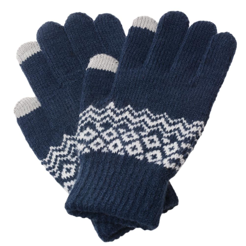 Studyset 1 Pair Women Keep Warm Winter Jacquard Knitted Touch Screen Gloves Full Finger Cold Proof Gloves