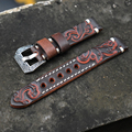 Ремешок для часов 20 мм 22 мм  винтажные кожаные резные ремешки для часов Panerai  ремешок с Резной Пряжкой  Выгравированная застежка