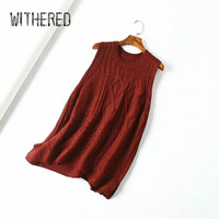 Withered england vintage office lady sleeveless sweater women pull femme v neck multicolor pullovers vest sweaters women tops