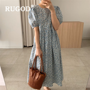 RUGOD модное летнее платье для женщин, корейское шикарное длинное платье макси с пышными рукавами, женское Повседневное платье с принтом 2020, н...