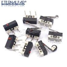 Interruptor momentáneo de botón de Interruptor de Límite Micro, interruptor de ratón de CA de 1A 125V, 3 pines, palanca con rodillo de bisagra, brazo SPDT 12*6*6mm
