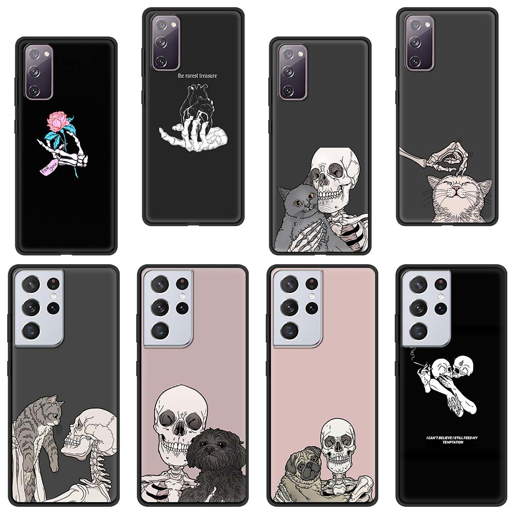 Cute Cat Dog And Skeleton Funny Skull Silicone Case For Samsung Galaxy S21 Ultra S20 FE S10 Plus S9 S8 S10e S7 5G Phone Cover