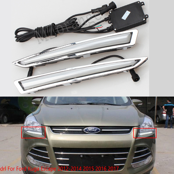 цена на LED DRL For Ford Kuga Escape 2013-2014 2015 2016 2017 daytime running light led fog lights With Turning Signal Lamp Daylight