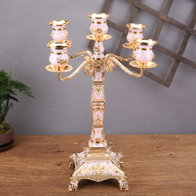 Square Candlestick Decoration Glass Retro European-Style Home Metal Lamp Luxury Candlestick Wedding Decoration