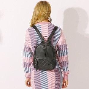 Image 2 - Женский винтажный рюкзак Zency из 100% натуральной кожи, элегантный черный повседневный рюкзак для отдыха, повседневные дорожные сумки, школьная сумка для девочек, белый цвет
