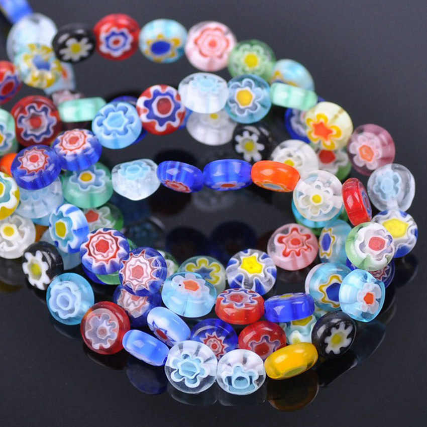 50pcs 8mm Coin Shape Light Blue Millefiori Glass Loose Beads for Jewelry Making