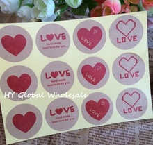 120pcs/pack Red Love LOVE Leather Color Seal Sticker Packaging Label Material Supplies For Gifts