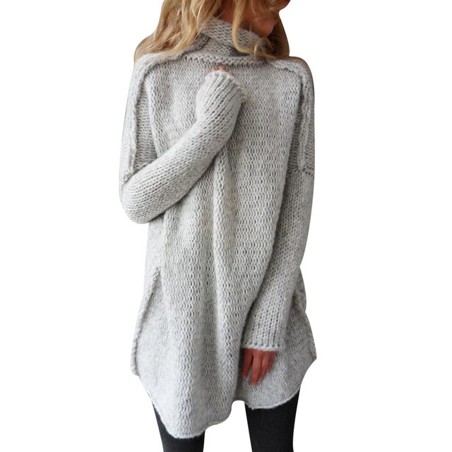 Turtleneck Women Knit Sweater Winter Long Sleeve Women Knitted Tops Lady Solid Pullover Long Sweater Female Oversize Sueter D40