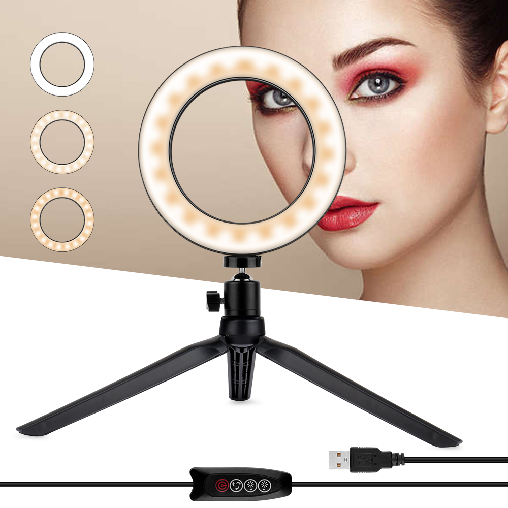 Home Mini LED Desktop Ring Light Stepless Dimming With Tripod Stand USB Plug For YouTube Video Live Photo Photography Studio