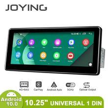Android 10.0 Single Din 10.25นิ้ว1280*480 IPS UniversalรถวิทยุPlayer 4GB RAM 64GB ROM RDS BT HDsupport 4G/Back Upกล้อง