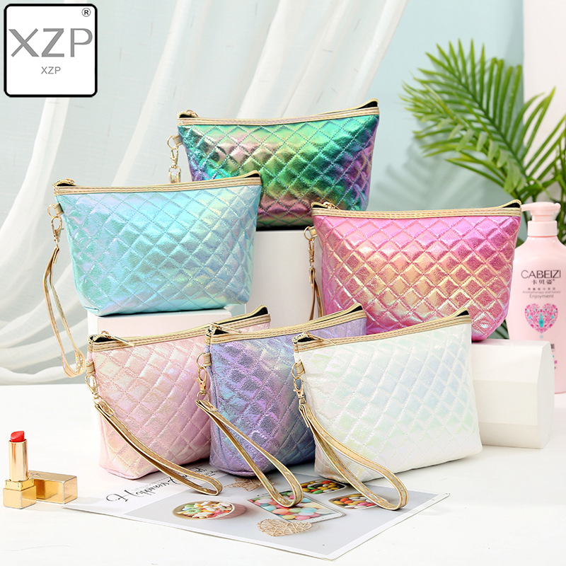 XZP New Fashion Colorful Laser PU Portable Cosmetic Case Makeup Bag Casual Square Lattice Women Storage Wash Bag