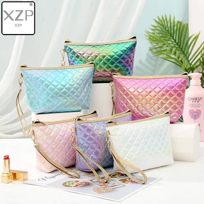 XZP New Fashion Colorful Laser PU Portable Cosmetic Case Makeup Bag Casual Square Lattice Women Storage Wash Bag