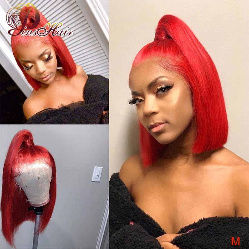 Peruvian Short Bob Human Hair Wigs Colored Red Bob Lace Front Wigs 13*4 Lace Front Human Hair Wigs Pinshair Non-remy Pre-Plucked