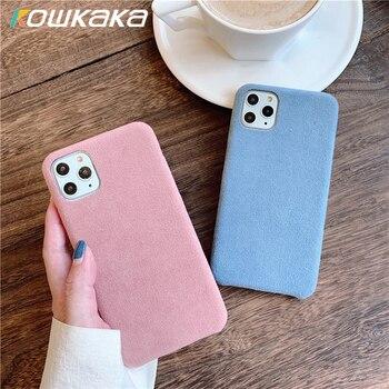 Kowkaka Simple de casos de teléfono para iPhone11 Pro Max XS Max XR X 7 7 6 6s plus mate suave de silicona Anti-knock cubierta Capa par