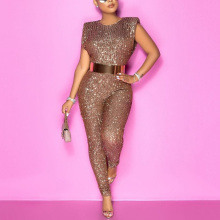 2021 New Spring Sequined Jumpsuits Sleeveless High Waist Bodycon Shinny Elegant For Evening Party Night Club Rompers & Jumpsuits