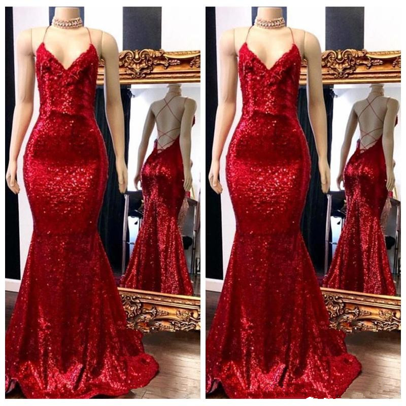 2019 Spaghetti Strips Mermaid Slim Bling Bling Prom Dresses Criss Cross Back Sequins Long Evening Party Gowns Lace