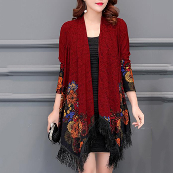 Lady Phochos Autumn New Capes National Wind Loose Slim Cardigan Shawl Outside The Long Cloak women's Clothing Accessories