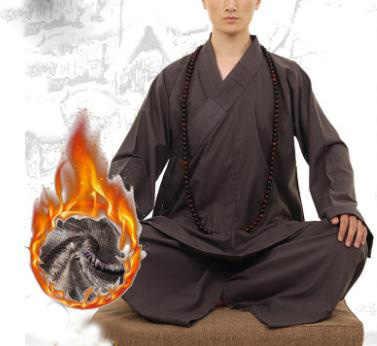 Unisex Winter Warm Katoen & Linnen Zen Arhat Martial Arts Uniformen Shaolin Monniken Kung Fu Pakken Lohan Lag Meditatie Kleding kaki
