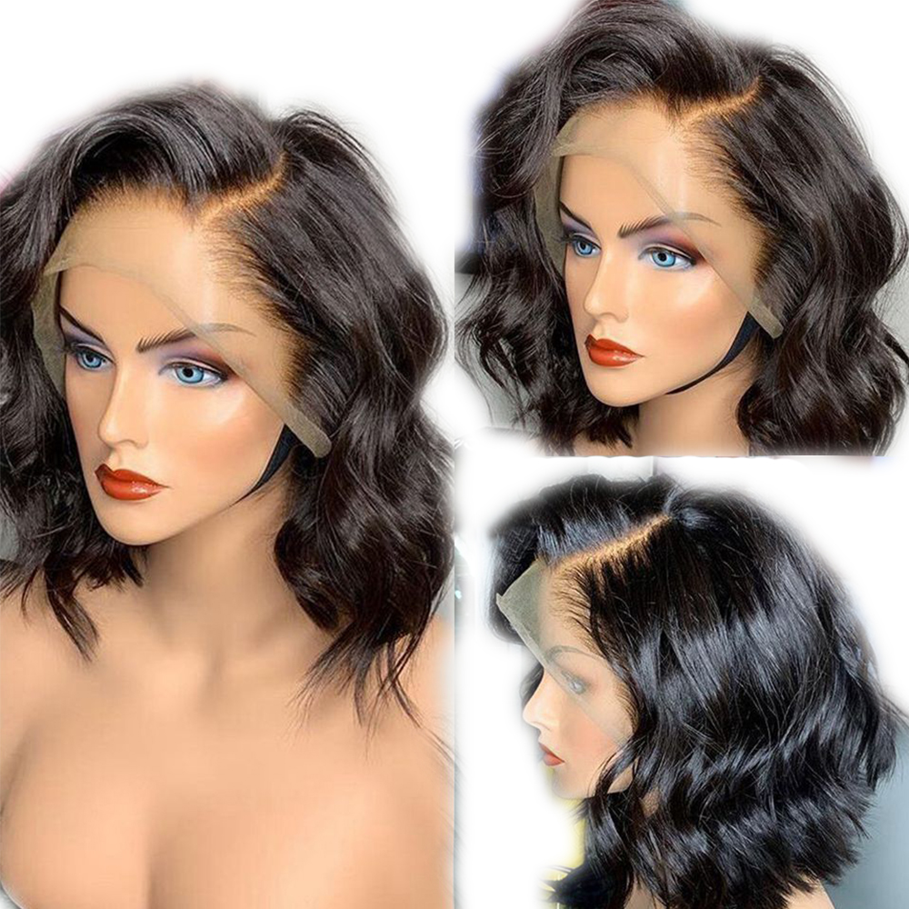 SimBeauty Glueless 13x6 Lace Front Wigs With Baby Hair Pre Plucked Short Bob Wigs Natural Wave Peruvian Remy Human Hair Wig