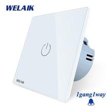 WELAIK קריסטל זכוכית פנל מתג קיר מתג האיחוד האירופי פעמון מגע מתג אור מתג 1gang 1way AC250V A1911MLCW/B
