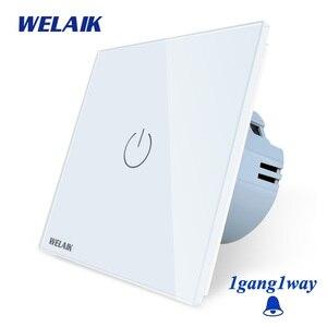 Image 1 - Welaik хрусталя панели переключателя белый настенный выключатель ЕС дверной звонок сенсорный выключатель света 1Gang1Way AC110 ~ 250 В a1911MLCW/b