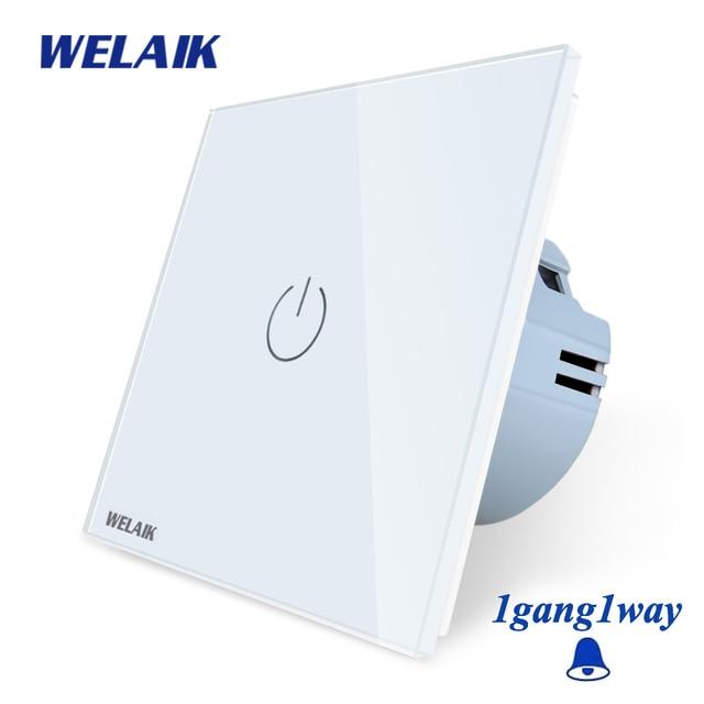 Welaik хрусталя панели переключателя белый настенный выключатель ЕС дверной звонок сенсорный выключатель света 1Gang1Way AC110 ~ 250 В a1911MLCW/b