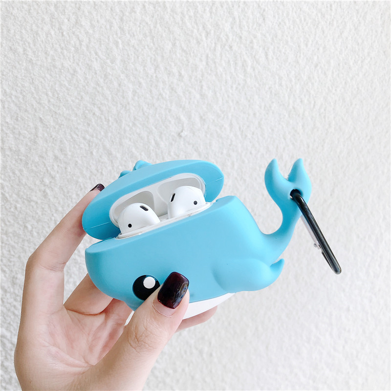 Case for AirPods Cartoon Earphone Cases for Airpods 2 Cute Accessories Protect Cover Keychain Stereoscopic Animal Design Whale in Earphone Accessories from Consumer Electronics