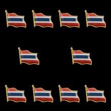 10PCS Thailand Flag Waving 3D Lapel Pins Hat Tie Tack Badge Pin Brooch Badge greece waving flag lapel pin 19 x 21mm hat tie tack badge lapel pin brooch badge