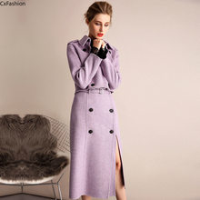 Cx fashion Wool Coat Autumn Winter DoubleSided Cashmere Coat Thin Woolen Two-Piece Set Cashmere Warm Red Purple OL Queen elegant(China)