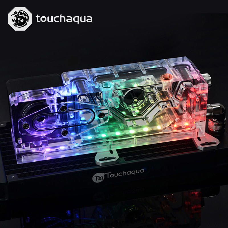 Bitspower Touchaqua PWM  XYZ Reservoir Combo 17w  Pump Digital RGB Water Tank  220x52x52 MM  BPTA-XYZ-RES-PWM