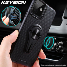 KEYSION Air Outlet Car Holder Phone Case For iPhone 11 Pro Max Magnetic Bracket Finger Ring Back Cover New