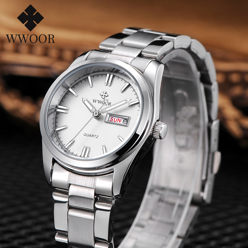 Montre Femme 2020 WWOOR Brand Fashion Business Quartz Ladies Watches Waterproof Silver White Clock Date Dress Wristwatch Women