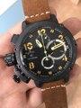 Nuevo cronómetro mecánico automático U1001 reloj U-51 quimera plata envejecida marrón cuero vaca reloj negro oro amarillo