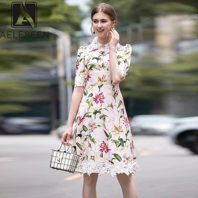 AELESEEN 2019 New Fashion Lily Series High Street Dresses Women Luxury Lace Collar Flower Button Elegant Floral Print Midi Dress
