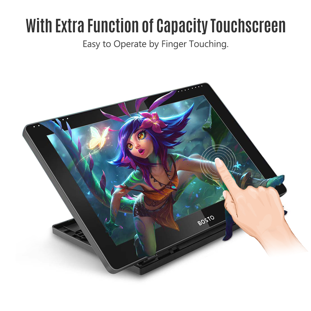 BOSTO BT-16HDT Portable 15.6Inch H-IPS LCD Graphics Drawing Tablet Display 8192 Pressure Level Passive Technology Drawing Tablet