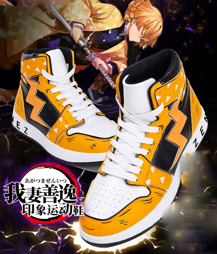 Cosplay Anime Demon Slayer: Kimetsu no Yaiba, Kamado, Tanjirou, Agatsuma, Zenitsu, Otoño, calzado transpirable informal, zapatillas de alta ayuda Zapatos de mujer de diseñador, zapatillas antideslizantes, zapatillas informales de tacón bajo, zapatos de tacón británico de madera, zapatos de tacón de verano