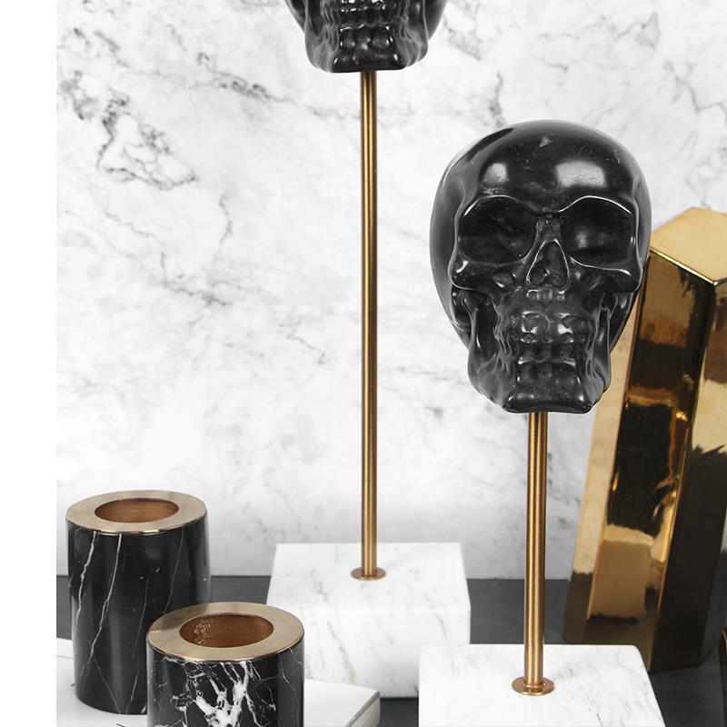 Décoration de la maison accessoires crâne noir Statue décoration Figurine salon ornement objets bureau marbre cadeau