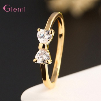 New Fashion Slim Finger Rings 925 Sterling Silver Bow Shape Cubic Zirconia Wedding/Engagement Party Rings Wholesale/Retail