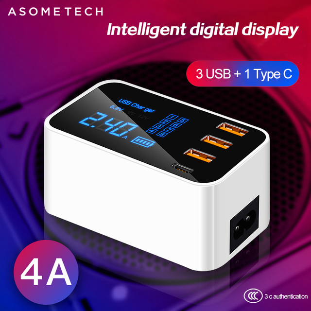 4 Ports Led Display Type C USB Charger For Android iPhone USB Adapter Socket Fast Phone Charger For xiaomi huawei samsung s10