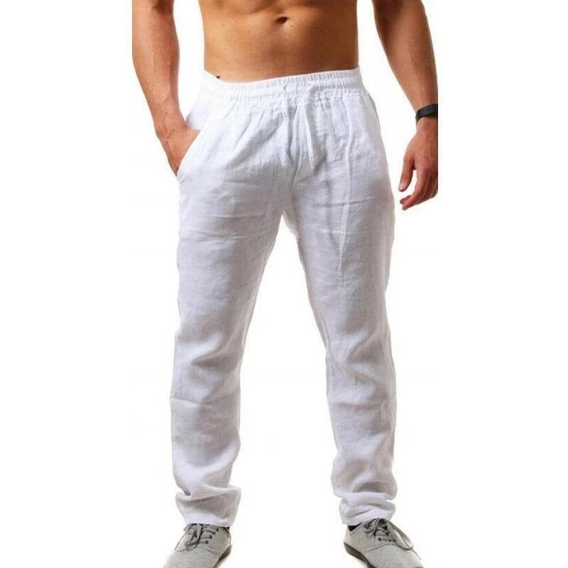 Hot Men Cotton Linen Trousers Solid Color Elastic Waist Loose Long Trousers Men's Hip-hop Breathable Casual Pants Pantalones