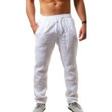 Pantalones largos de algodón y lino para hombre, pantalón informal, transpirable, estilo Hip-hop, con cintura elástica, Color sólido, en oferta
