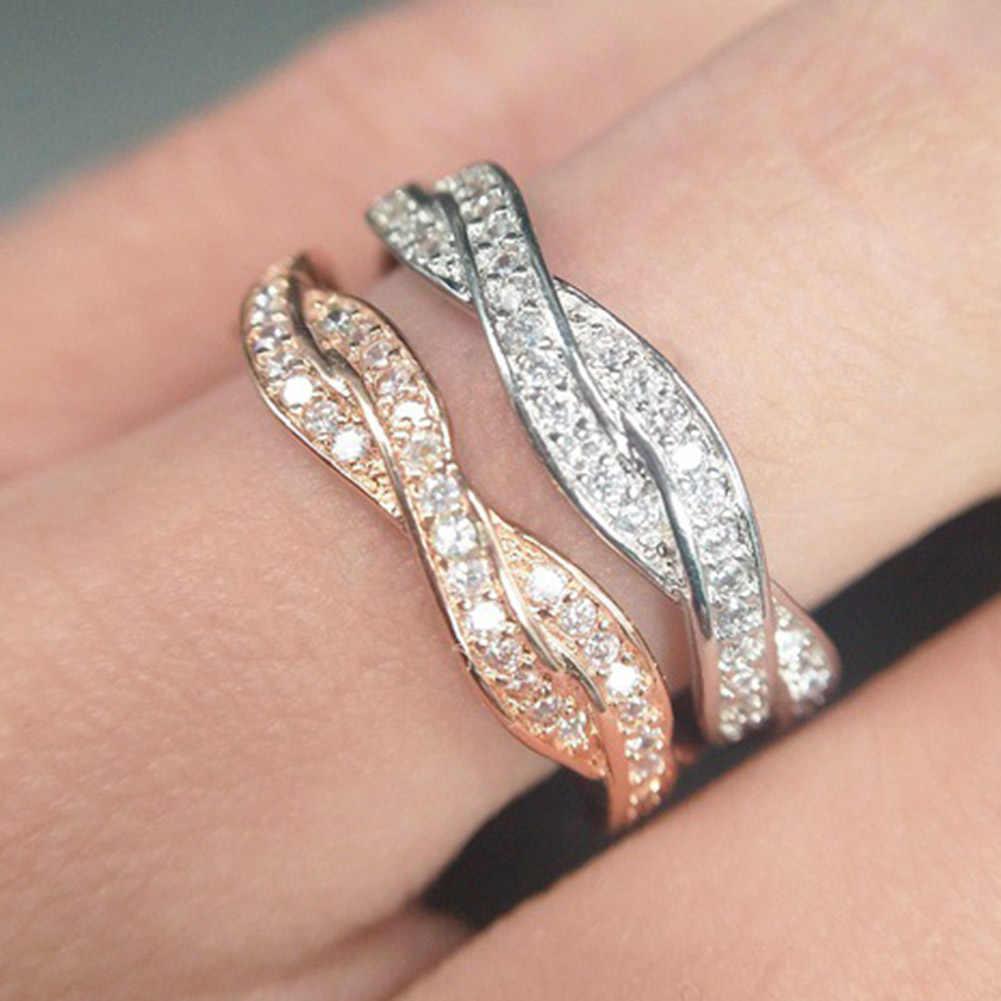 2018 новое кольцо для женщин с круглой огранкой, однотонное Золотое кольцо на головщину, штабелируемое кольцо, Женское Обручальное Кольцо