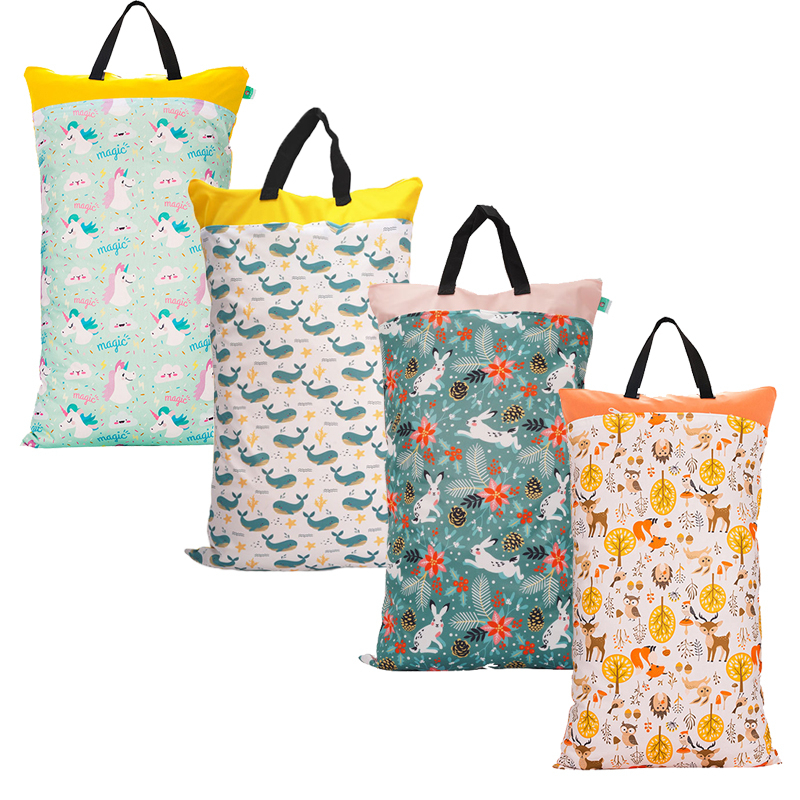 Waterproof 40x70cm Hanging Wet/Dry Pail Bag Cloth Baby Diaper Inserts Nappy Laundry With Zipper Storage Towel For Go Out Beach