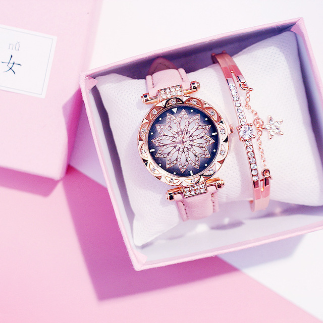 Women Watches Bracelet set Starry Sky Ladies Bracelet Watch