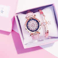 Luxury Women Watches Bracelet set Starry Sky Ladies Bracelet Watch Casual Leather Quartz watch Wristwatch Clock Relogio Feminino
