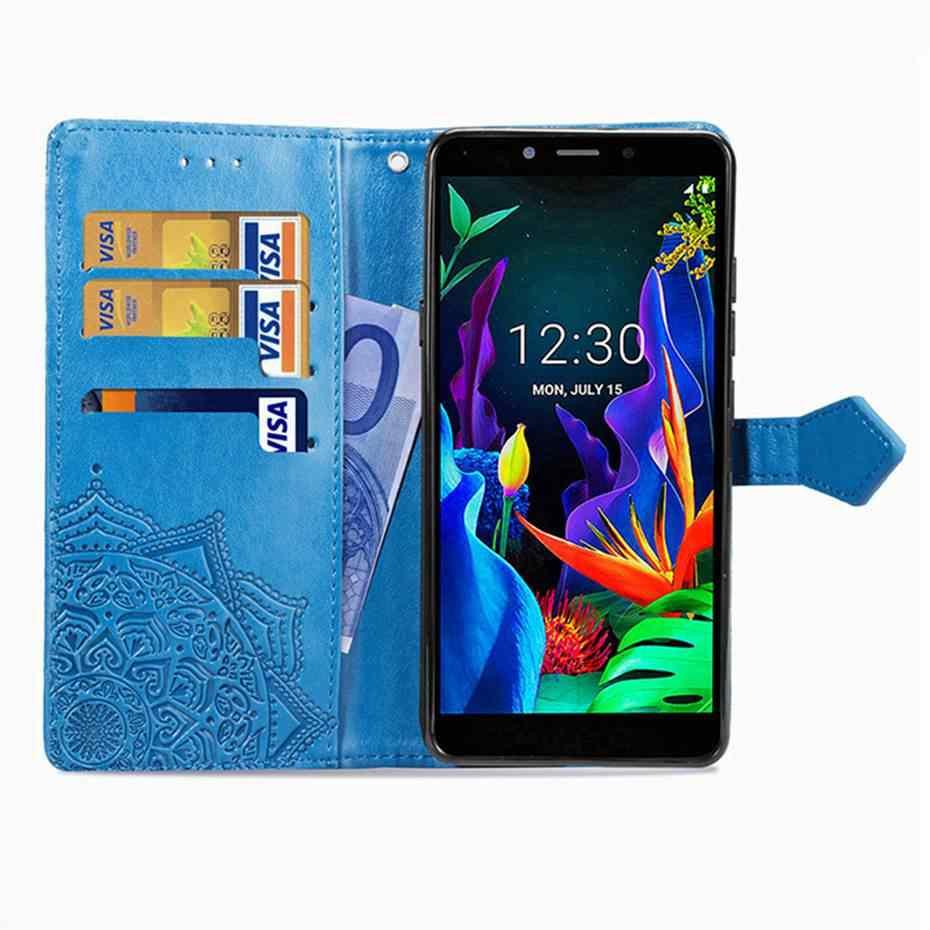 3D ماندالا الوجه حقيبة لجهاز LG K20 K30 2019 بو أغطية جلد الهاتف حقيبة لجهاز LG K20 K30 2019 حالة